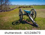 Small photo of Shooting view of an American civil war cannon.