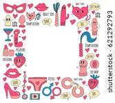 doodle humorous vector sextoys... | Shutterstock .eps vector #621292793