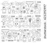 doodle humorous vector sextoys...   Shutterstock .eps vector #621292997