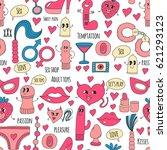doodle humorous vector sextoys... | Shutterstock .eps vector #621293123