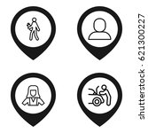worker icon. set of 4 worker...