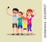 happy family making selfie...   Shutterstock .eps vector #621335417