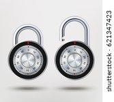combination padlock  realistic... | Shutterstock .eps vector #621347423