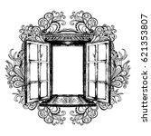an open antique window. vector... | Shutterstock .eps vector #621353807