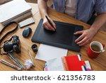 workplace of designer. graphic... | Shutterstock . vector #621356783