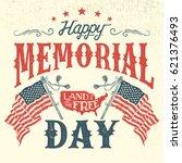 happy memorial day greeting... | Shutterstock .eps vector #621376493