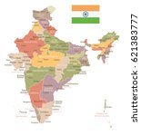 india vintage map and flag  ... | Shutterstock .eps vector #621383777