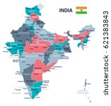 india map and flag   highly... | Shutterstock .eps vector #621383843