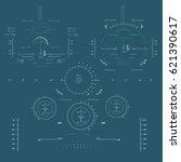 futuristic blue virtual graphic ... | Shutterstock .eps vector #621390617