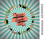 vector rounded sushi set   Shutterstock .eps vector #621444923