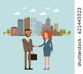 people at work with handshaking ... | Shutterstock .eps vector #621445523