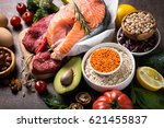 balanced diet food background.... | Shutterstock . vector #621455837