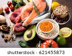 balanced diet food background.... | Shutterstock . vector #621455873