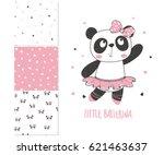 little panda ballerina. surface ... | Shutterstock .eps vector #621463637