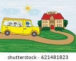 illustration of a school bus... | Shutterstock .eps vector #621481823