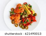 roasted chicken wings with... | Shutterstock . vector #621490013