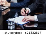 businessman signing the papers | Shutterstock . vector #621532817