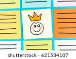 happy king emoticon note paper... | Shutterstock . vector #621534107