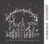 hand lettering thank you card... | Shutterstock .eps vector #621535637