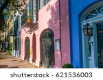 rainbow row colorful and well... | Shutterstock . vector #621536003