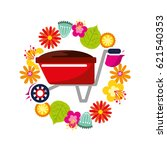beautiful garden flat icons | Shutterstock .eps vector #621540353