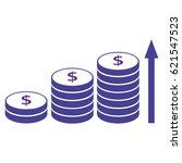 coins stacks with arrow upwards ... | Shutterstock .eps vector #621547523