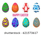 some different easter eggs... | Shutterstock .eps vector #621573617