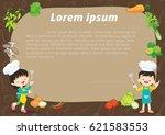 cute kids meal menu vector... | Shutterstock .eps vector #621583553