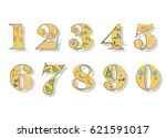 floral numerals. yellow symbols ... | Shutterstock .eps vector #621591017