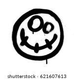 graffiti scary happy emoji... | Shutterstock .eps vector #621607613