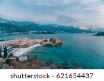 budva's old town in the snow ... | Shutterstock . vector #621654437
