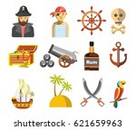 pirate colorful symbols on... | Shutterstock .eps vector #621659963