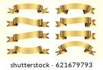 set of golden ribbons on beige... | Shutterstock .eps vector #621679793