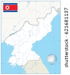 north korea map. no text.vector ... | Shutterstock .eps vector #621681137