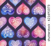 Seamless pattern tile with mandalas, heart and watercolor. Vintage decorative elements. Hand drawn background. Islam, Arabic, Indian, ottoman motifs. Perfect for printing on fabric or paper.