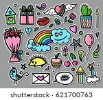 vector set of hand drawn... | Shutterstock .eps vector #621700763