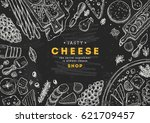 cheese collection top view... | Shutterstock .eps vector #621709457