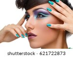 beautiful girl with bright... | Shutterstock . vector #621722873