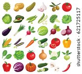 vegetables icon collection  ... | Shutterstock .eps vector #621725117