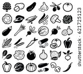 vegetables icon collection  ... | Shutterstock .eps vector #621725123