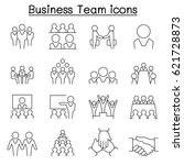 business team icon set in thin... | Shutterstock .eps vector #621728873