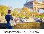 tourist on the seine embankment ... | Shutterstock . vector #621734267