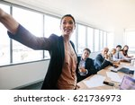 presentation in modern... | Shutterstock . vector #621736973