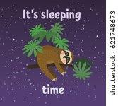 sleeping sloth on tree branch . ... | Shutterstock .eps vector #621748673