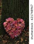 heart shaped sympathy flower... | Shutterstock . vector #621748967
