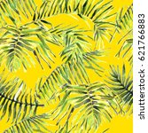 palm leaves seamless pattern.... | Shutterstock . vector #621766883