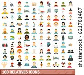 100 relatives icons set in flat ... | Shutterstock .eps vector #621781487