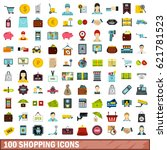 100 shopping icons set in flat... | Shutterstock .eps vector #621781523