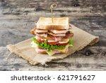 club sandwich on wooden table... | Shutterstock . vector #621791627