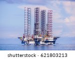 Small photo of Labuan,Malaysia-Mac 25,2017:The layup drilling jackup rig at Labuan,Malaysia.Labuan is the most affected areas when the global oil price dropped & facing challenges when many companies left Labuan.